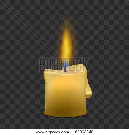 Realistic Paraffin Little Candle with Flame Fire Light and Drop on a Transparent Background. Vector illustration