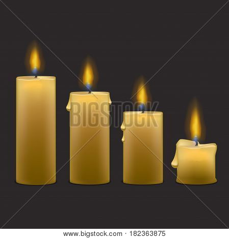 Realistic Paraffin Candles with Flame Fire Light Set Row. Vector illustration