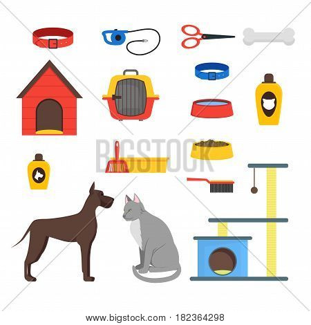 Cartoon Domestic Pets Care Set Accessories and Equipment for Dog and Cat Flat Design Style. Vector illustration