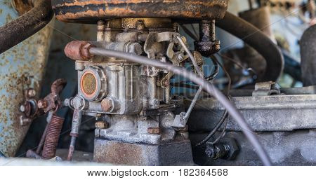 Part Of The Motor In The Old Soviet Car