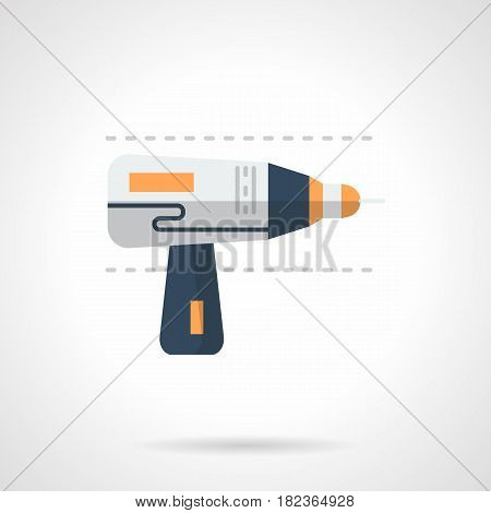 Blue and gray electric hand drill. Equipment and tools for different construction and repair works. Flat color style vector icon.