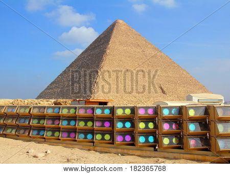 egypt pyramid and colorful spotlights in Giza
