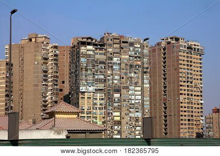 view on dirty urban building in Cairo