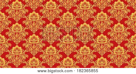 Traditional russian hohloma style seamless pattern vector. Russian traditional ornament in red and gold colors. Classic khokhloma floral background
