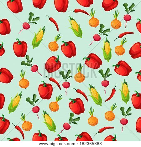 Very high quality original trendy seamless pattern with corn cob and red pepper, radish, onion