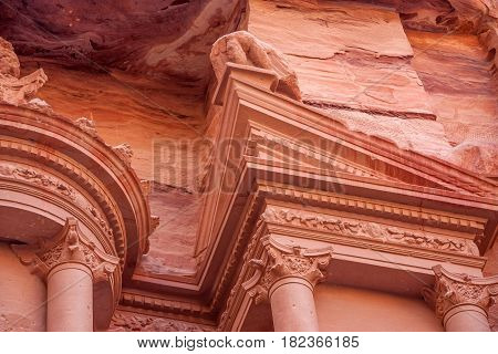 Detail of facade of famous tomb Al-Khazneh or Treasury in Petra, Jordan