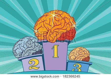 The human Shine brain on sports podium. Pop art retro vector illustration. Competition intelligence. Sparkle and Shine