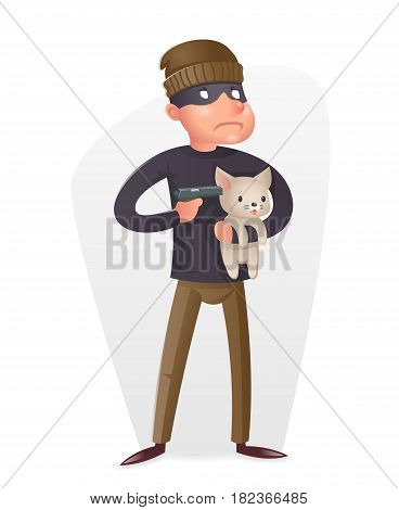 Criminal Thief Gun Hostage Character Crime threat Buyout Request Icon Retro Cartoon Vector Design Illustration