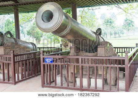 Hue, Vietnam - Jan 22 2015: Cannons At Imperial City(unesco World Heritage Site). A Famous Historica