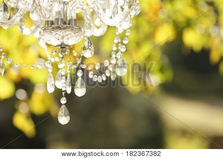 The crystal chandelier in the sunset light