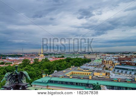 Scenic view from roof of Isaac's Cathedral in Saint Petersburg