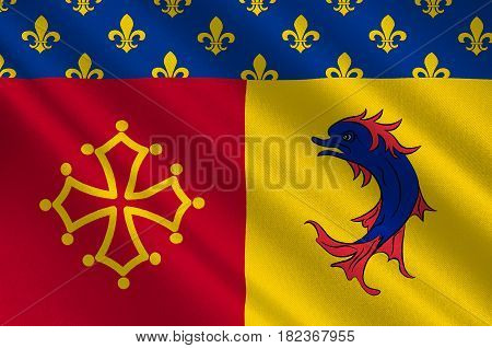 Flag of Hautes-Alpes is a French department in the southeastern of France. 3d illustration