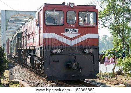 Hue, Vietnam - Jan 24 2015: Vietnam Railways D18E Diesel Locomotives. D18E Currently Used On The Vie