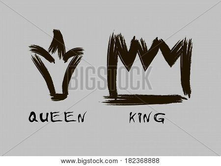 Painted with a brush crown of the king and queen in grunge style black on an isolated layer.