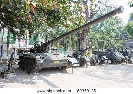 Ho Chi Minh City, Vietnam - Jan 27 2015: M107 Self-propelled Gun At War Remnants Museum. A Famous Hi
