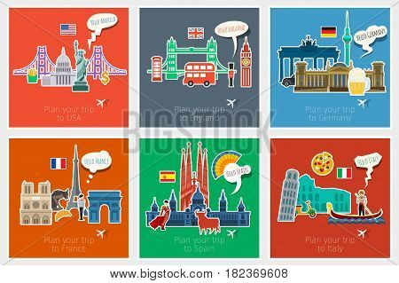 Concept of travel or studying languages. English, German, Spanish, Italian, French. Flat design vector illustration