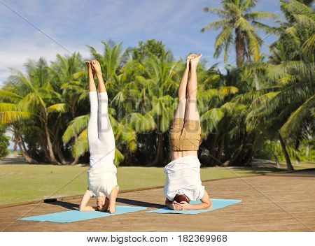 fitness, sport, yoga and people concept - couple making headstand pose on mat over natural background with palm trees