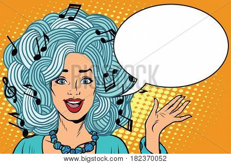 Pretty girl loves music. Young woman music notes instead of hairstyles. Pop art retro vector illustration. creativity and artistry