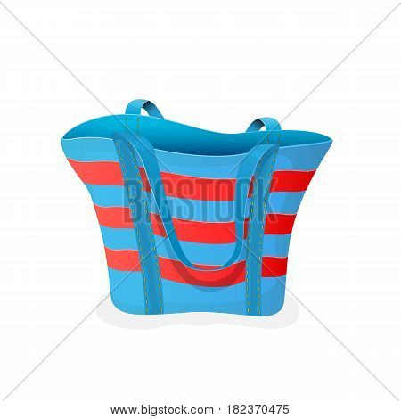 Striped blue-and-red bag, empty beach bag isolated on white background, illustration.