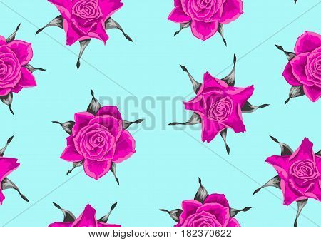 Seamless pattern with pink roses. Beautiful decorative flowers.