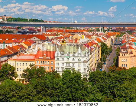 Prague cityscape on sunny summer day with Nusle Valley and Nusle Bridge, Czech Republic.