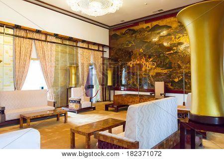 Ho Chi Minh City, Vietnam - Jan 26 2015: Ambassadors Chamber At Independence Palace. A Famous Histor