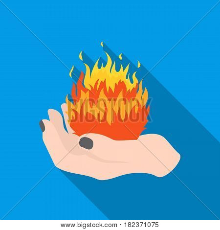 Fire spell icon in flate style isolated on white background. Black and white magic symbol vector illustration.