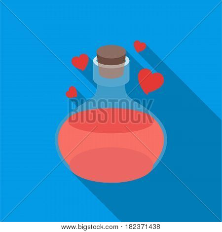 Love potion icon in flate style isolated on white background. Black and white magic symbol vector illustration.