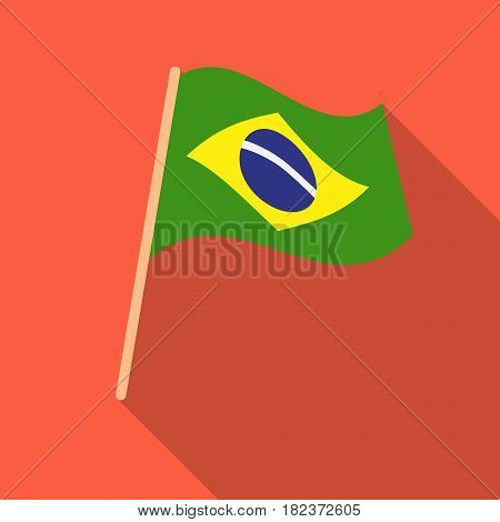 Flag of Brazil icon in flate design isolated on white background. Brazil country symbol stock vector illustration.