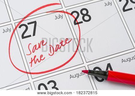 Save The Date Written On A Calendar - July 27