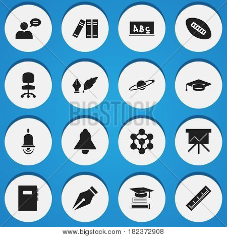 Set Of 16 Editable Education Icons. Includes Symbols Such As Astrology, Workbook, Thinking Man And More. Can Be Used For Web, Mobile, UI And Infographic Design.