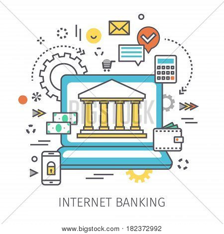 Concept of internet banking. Open notebook with symbol of Bank on the screen and icons in the style of line art. Flat design, lineart vector illustration