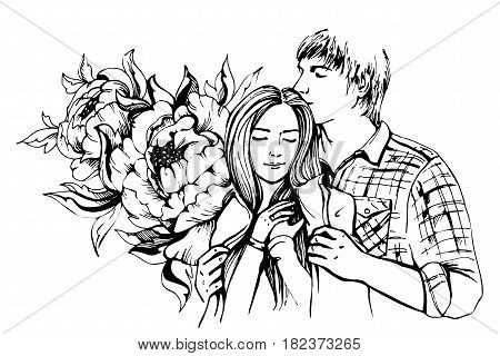 Young couple in love.Sensual sketch portrait of young stylish fashion couple. Embraces of a loving couple, couple hugging and flirting. Hand drawn vector illustration