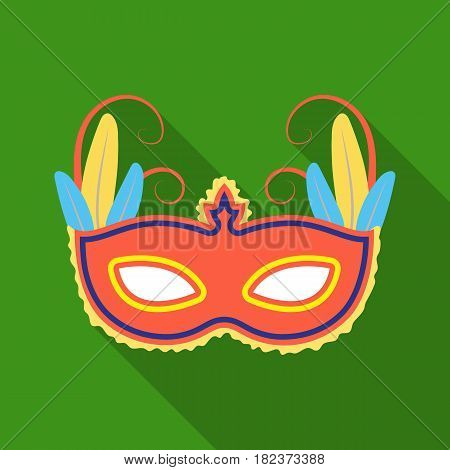 Brazilian carnival mask icon in flate design isolated on white background. Brazil country symbol stock vector illustration.