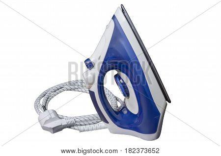 Iron ironing blue on a white background isolation