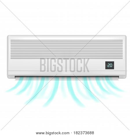 Realistic Detailed Air Conditioner Isolated on a White Background Symbol of Comfort. Climate Control for House Vector illustration