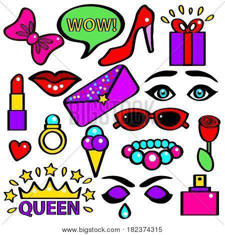 Pop Art Girlish Fashion Sticker Color Set Comic Style Element Speech Bubbles, Lipstick, Rose and Aroma. Vector illustration