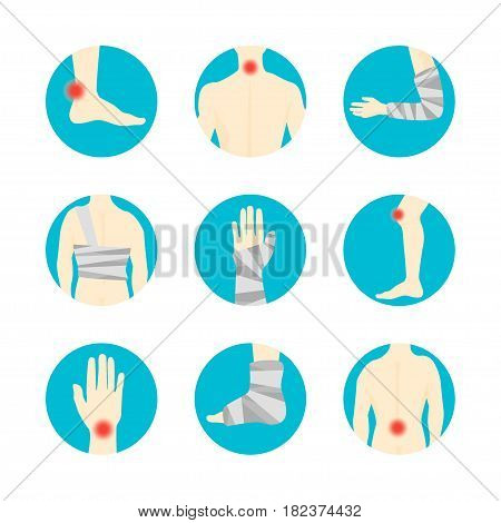 Human Injuries of Body, Hand and Foot Set Bandage, Center Pain in Circle Isolated on Background. Concept Treatment. Vector illustration