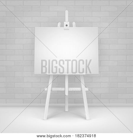 Vector Wooden White Easel with Mock Up Empty Blank Horizontal Canvas Standing on Floor in front of Brick Wall