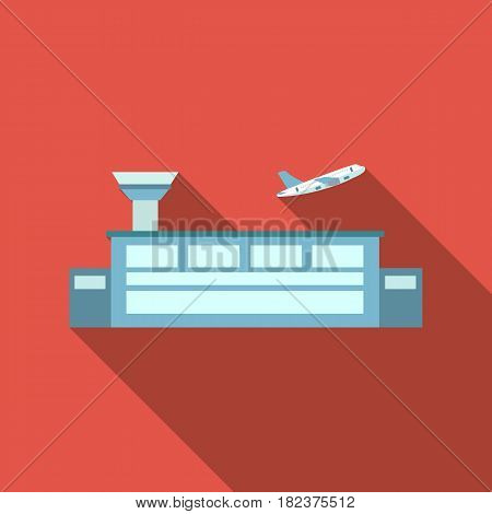 Airport icon flate. Single building icon from the big city infrastructure flate stock vector