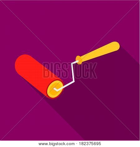 Paint roller icon in flate style isolated on white background. Build and repair symbol vector illustration.