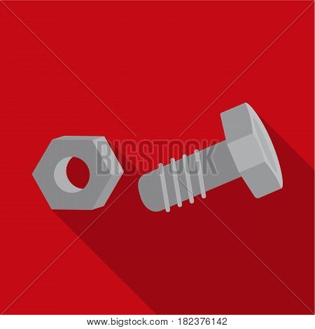 Structural bolt and hex nut icon in flate style isolated on white background. Build and repair symbol vector illustration.