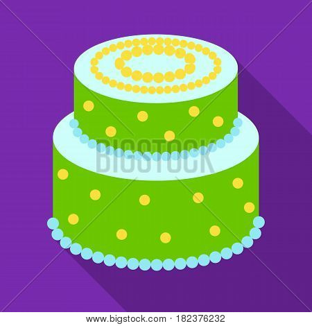 Green cake with yellow dots icon in flate design isolated on white background. Cakes symbol stock vector illustration.