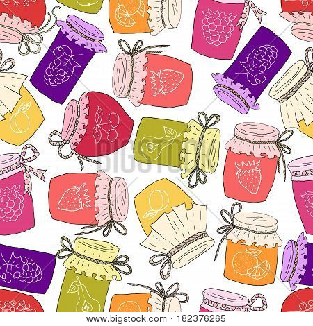 Pattern of hand drawn jars with home-made jams. Home Canning of Summer fruits.