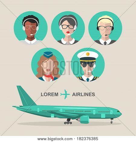 Vector set of airplane and cabin crew and airport team icons in flat style. Aviation male and female avatars illustrations stewardess, pilot, air traffic controller.