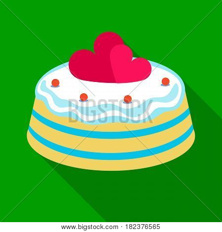 Cake with hearts icon in flate design isolated on white background. Cakes symbol stock vector illustration.