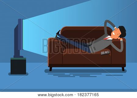 Business man watches TV on sofa. Watching TV and relax at home on couch. Flat design, vector illustration.