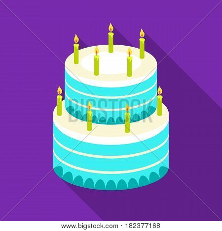 Birthday cake icon in flate design isolated on white background. Cakes symbol stock vector illustration.