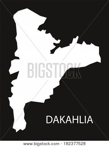Dakahlia Egypt Map Black Inverted Silhouette Illustration