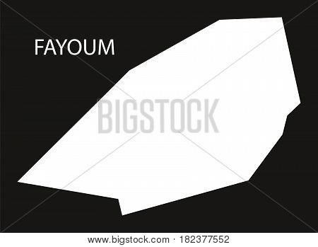 Fayoum Egypt Map Black Inverted Silhouette Illustration